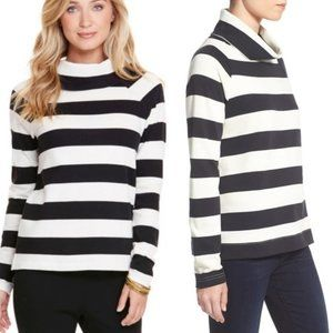 VINEYARD VINES Sweater, Black Cowl Neck Stripe, S